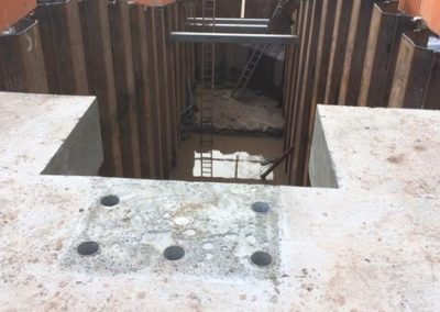 500mm thick cast slab top of the Forebay Tank (the five holes are for bolts to secure the upper mounting pedestal of the screw)