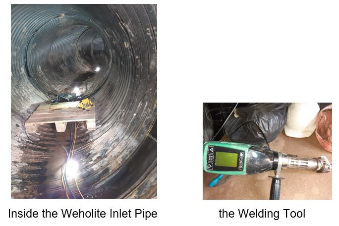 Inside the inlet pipe