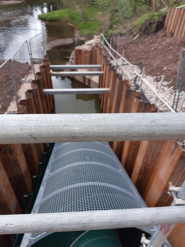 Outlet pipes removed at the Congleton Hydro