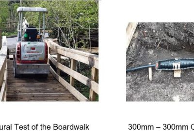 Strucatal test of the boardwalk and connection cable