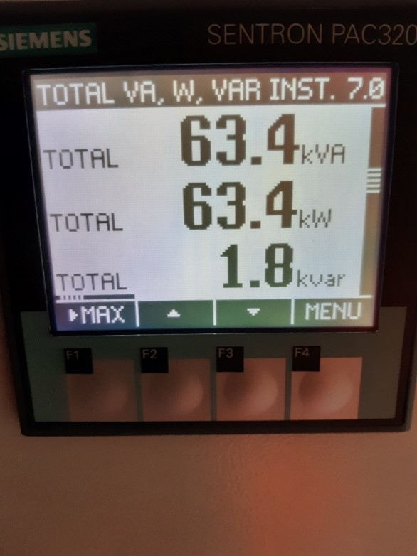 Picture of control unit displaying power output